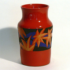 Vase, red, blue with stars