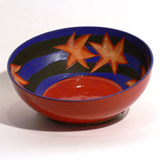 Bowl, red, blue with stars