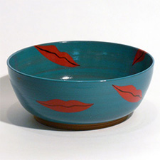 Bowl, turquoise with red lips