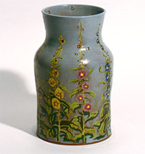 Vase, blue with flowers