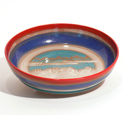 Bowl, red, blue, white with sky scene
