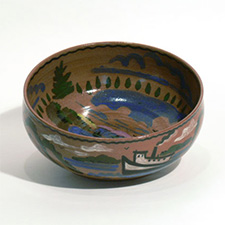 Bowl, brown with Moosehead Lake scenes