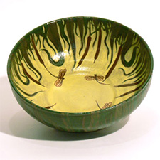 Bowl, green, yellow with dragonflies